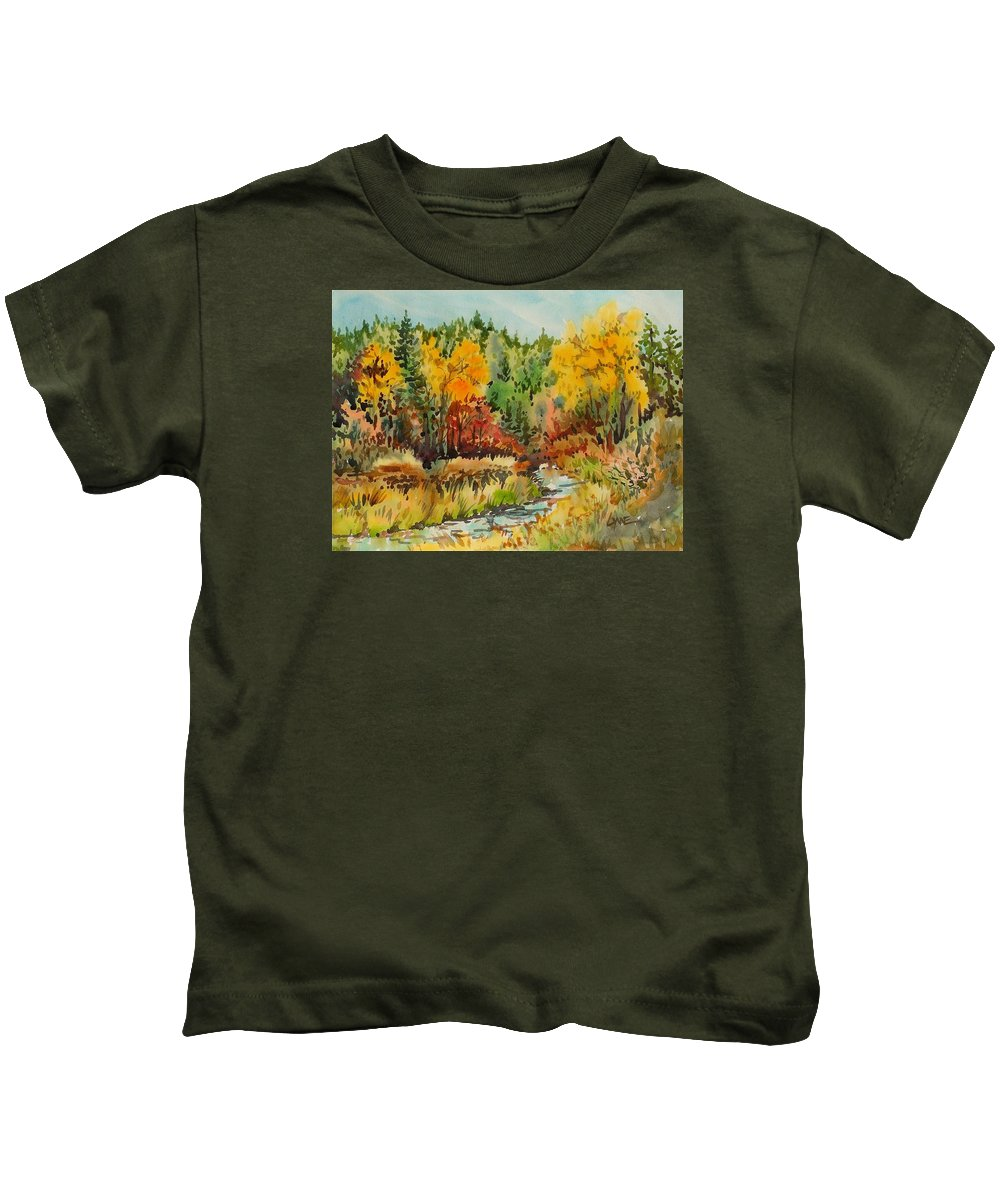 Autumn Creek Kids T-Shirt featuring the painting Latah Creek Fall Colors by Lynne Haines