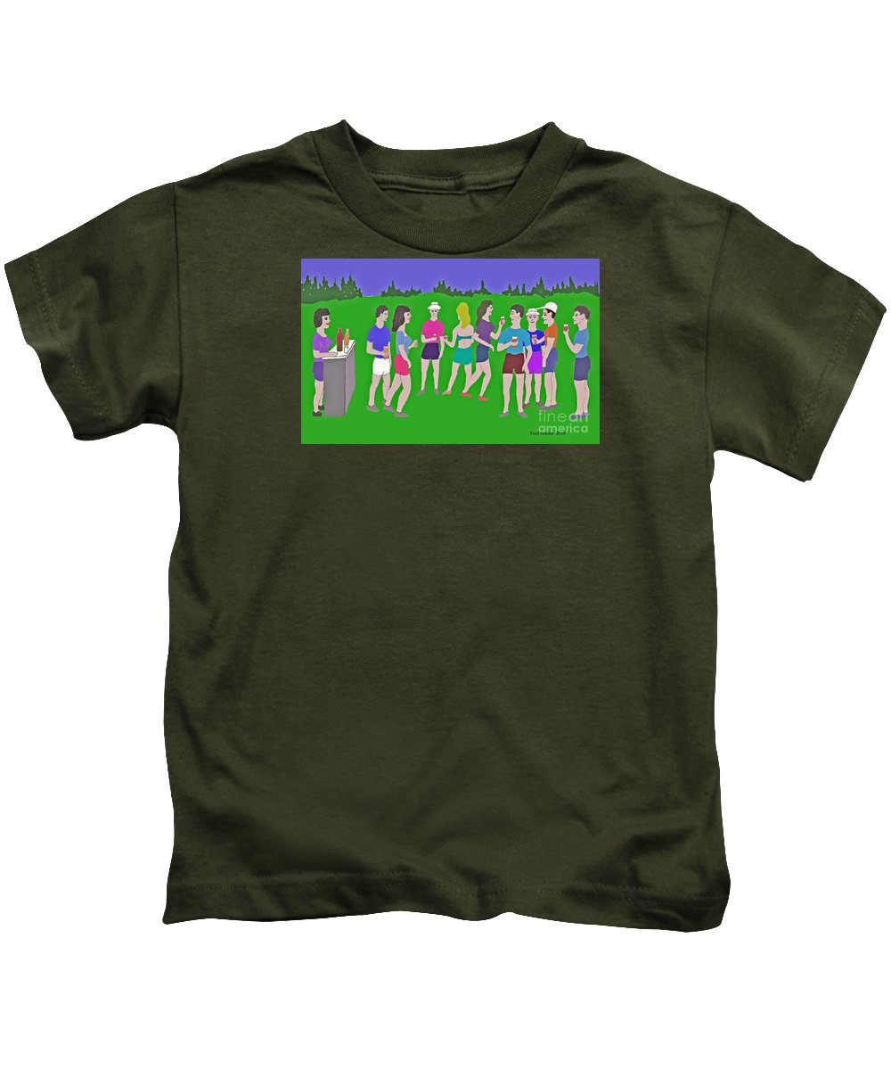 Party Kids T-Shirt featuring the painting Lawn Party by Fred Jinkins