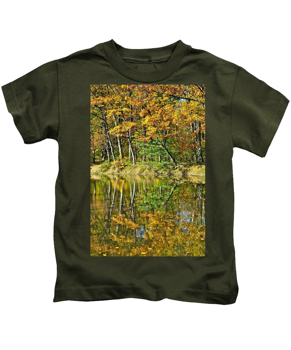 Autumn Kids T-Shirt featuring the photograph Leaning Trees by Frozen in Time Fine Art Photography