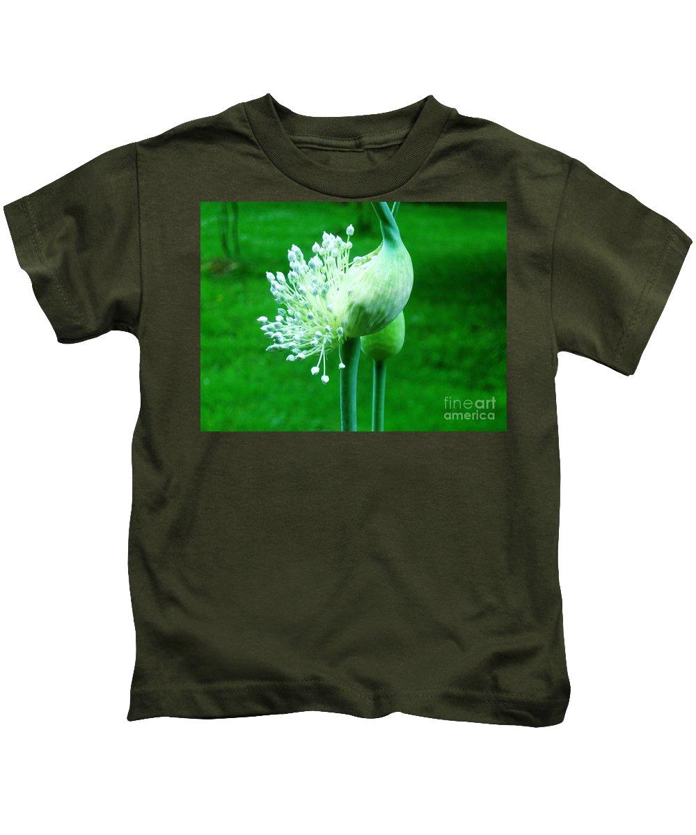 Leek Flower Kids T-Shirt featuring the pyrography Leek Flower by Janell R Colburn