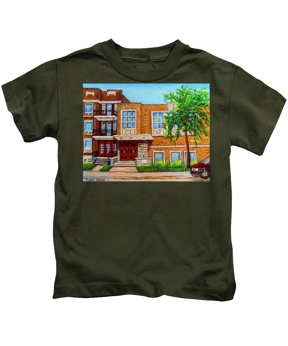 Montreal Kids T-Shirt featuring the painting Legare And Hutchison Synagogue Montreal by Carole Spandau