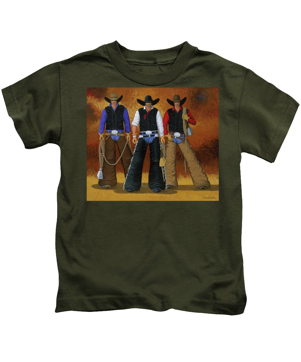 Eight Seconds Kids T-Shirt featuring the painting Let's Ride by Lance Headlee