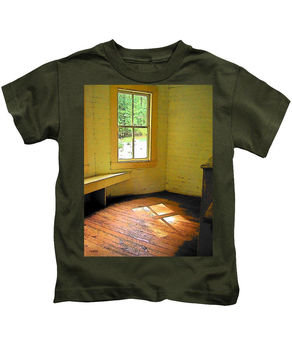 Rebecca Korpita Kids T-Shirt featuring the photograph Light Through The Window by Rebecca Korpita