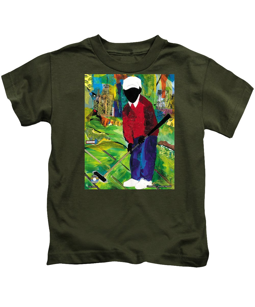 Everett Spruill Kids T-Shirt featuring the painting Lil Tiger by Everett Spruill
