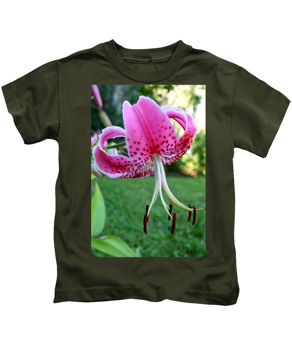 Lilium Kids T-Shirt featuring the photograph Lilium Reach by Neal Eslinger