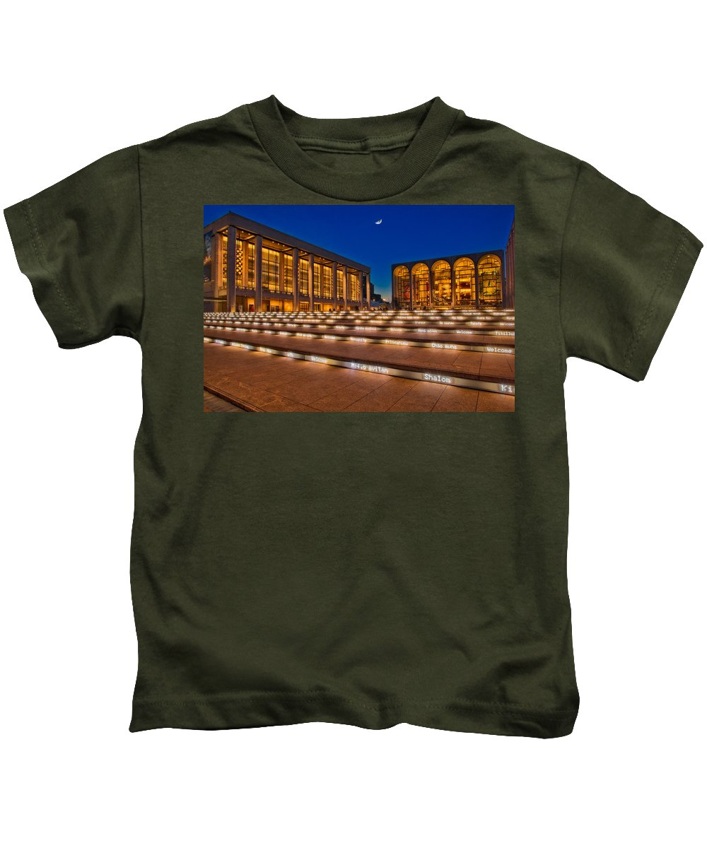 Lincoln Kids T-Shirt featuring the photograph Lincoln Center by Susan Candelario