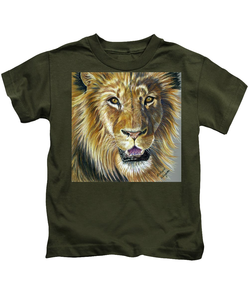 Lions Kids T-Shirt featuring the painting Lion King by Michelle Wrighton