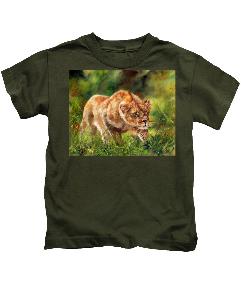 Lion Kids T-Shirt featuring the painting Lioness Stalking by David Stribbling