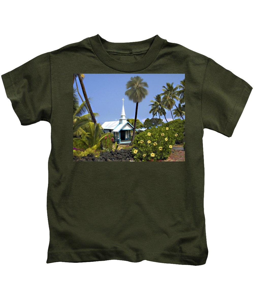 Hawaii Kids T-Shirt featuring the photograph Little Blue Church Kona by Kurt Van Wagner