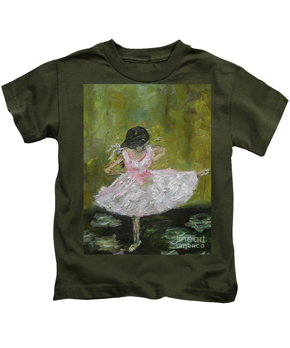 Girl Kids T-Shirt featuring the painting Little Dansarina by Reina Resto