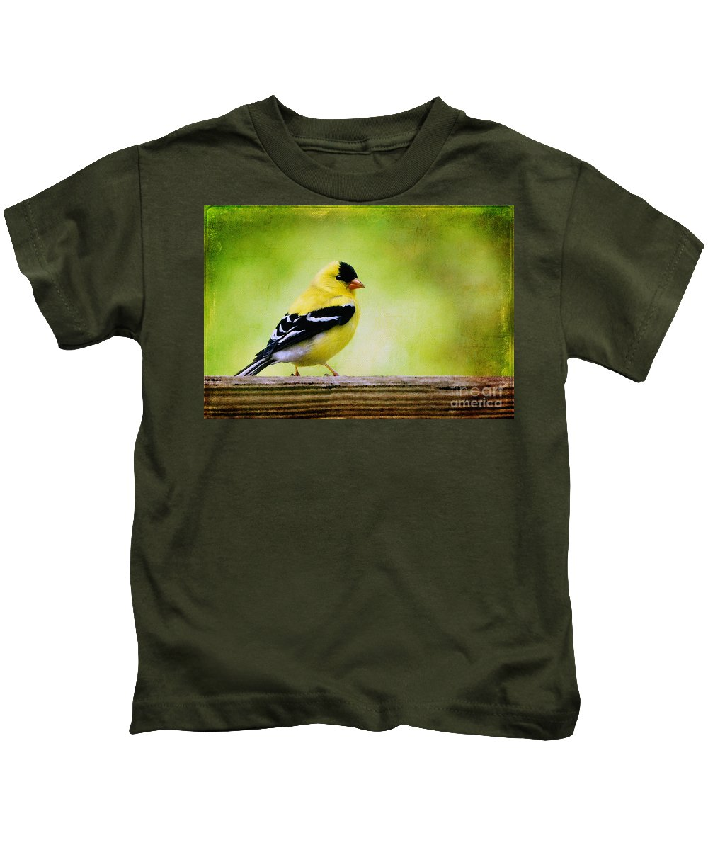 Goldfinch Kids T-Shirt featuring the photograph Little Sir by Lois Bryan