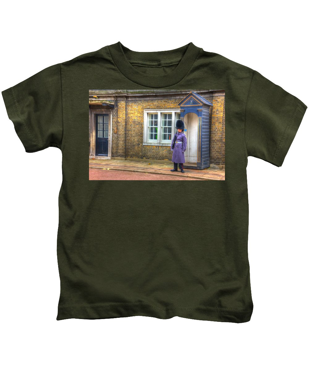 Hdr Kids T-Shirt featuring the photograph London Guard by Pati Photography