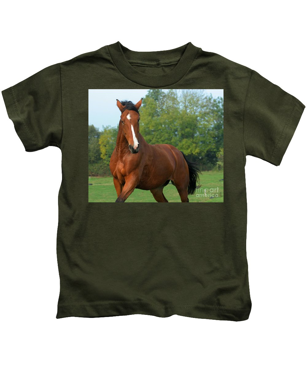 Horse Kids T-Shirt featuring the photograph Look How Pretty I Am by Angel Ciesniarska