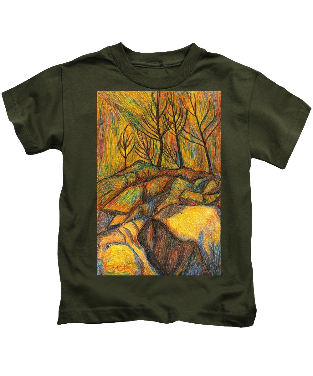 Kendall Kessler Kids T-Shirt featuring the drawing Looking Up In Yellow Light by Kendall Kessler