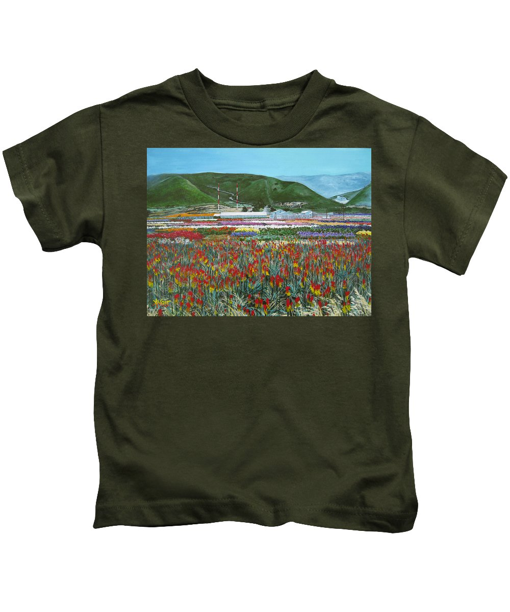 Flowers Kids T-Shirt featuring the painting Lookout Point by Angie Hamlin