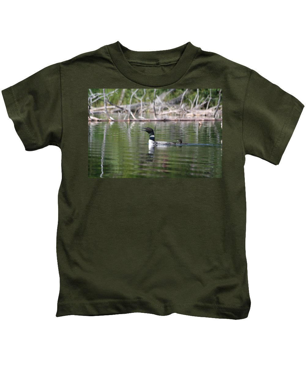 Loon Kids T-Shirt featuring the photograph Loon And Baby by Lynne McQueen