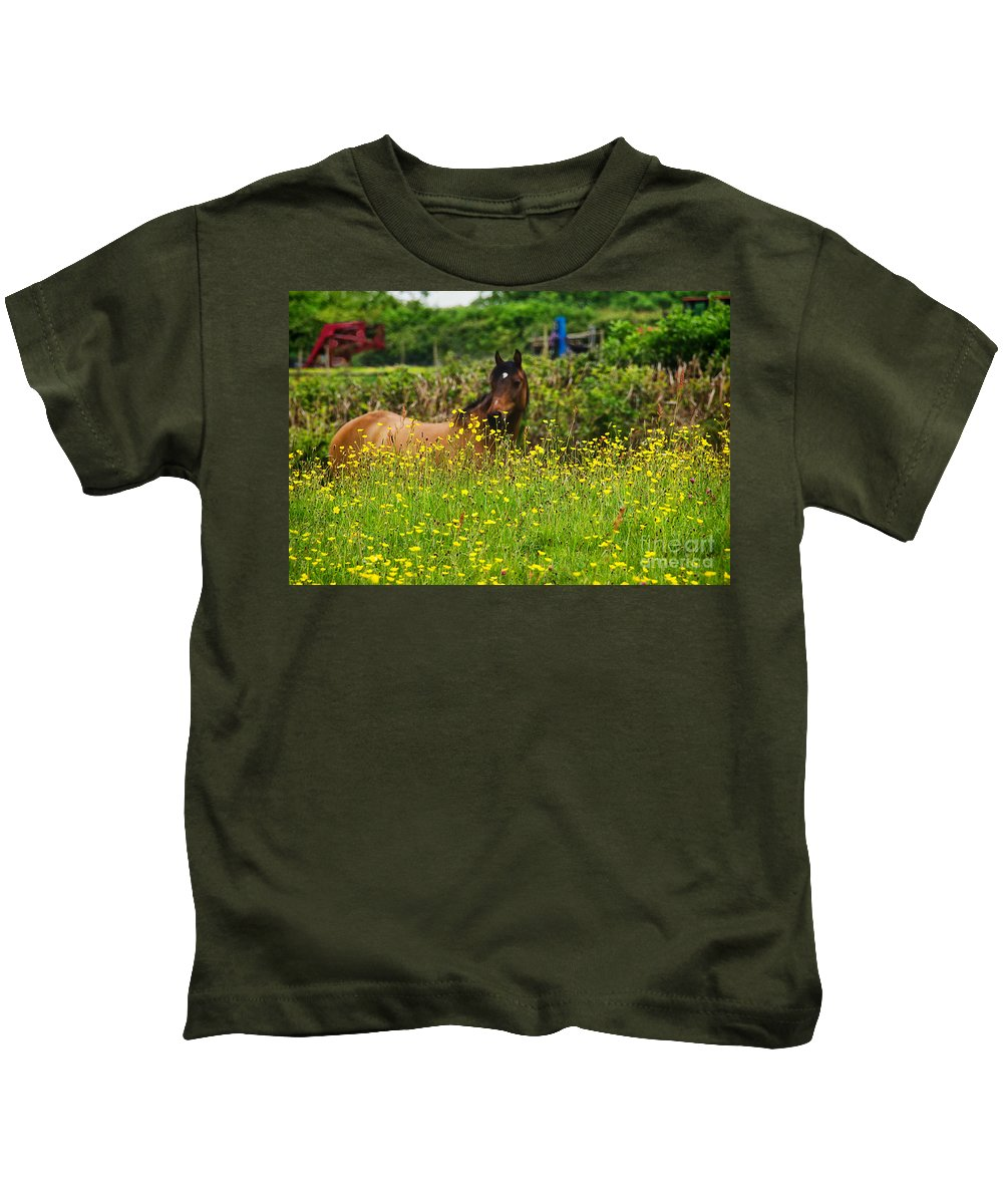 Horse Kids T-Shirt featuring the photograph Lost In Buttercups by Susie Peek