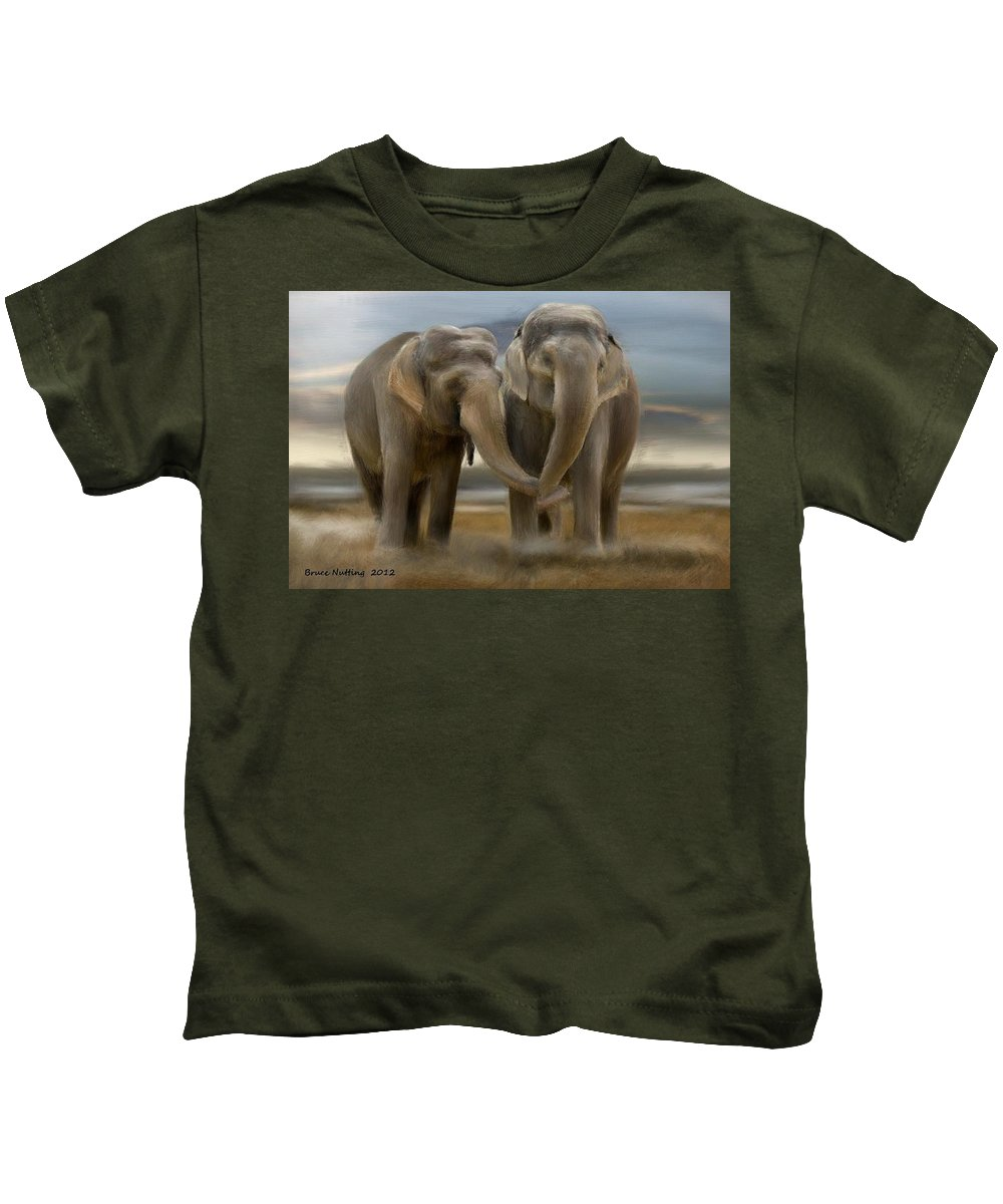 Elephant Kids T-Shirt featuring the painting Love In All Sizes by Bruce Nutting