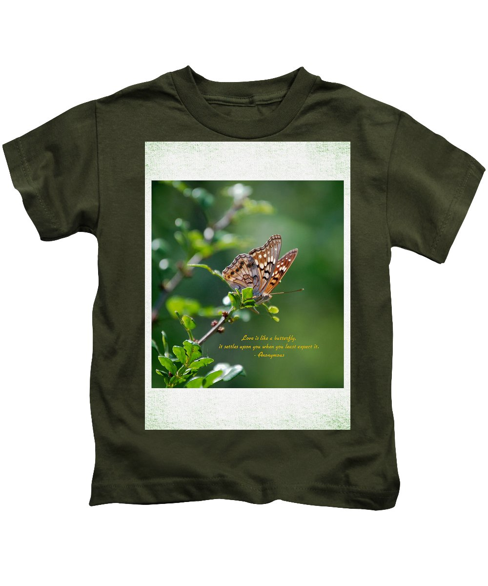 Butterfly Kids T-Shirt featuring the photograph Love Is Like A Butterfly by Leticia Latocki