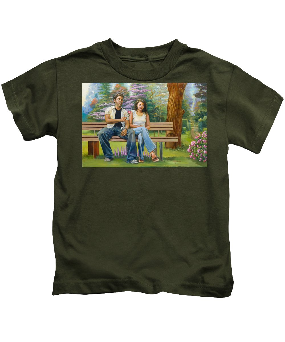 Indian Kids T-Shirt featuring the painting Lovers On A Bench by Dominique Amendola
