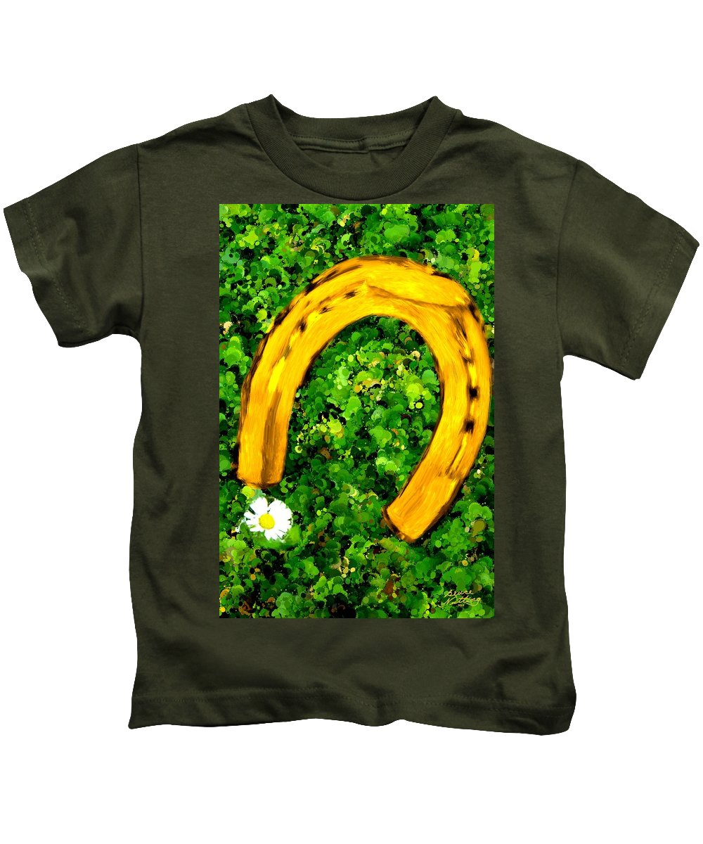 Horse Kids T-Shirt featuring the painting Lucky Wedding Horse Shoe by Bruce Nutting