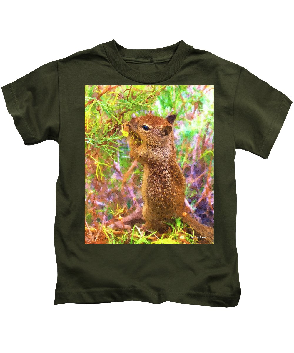 Squirrel Kids T-Shirt featuring the painting Lunch Time by Angela Stanton