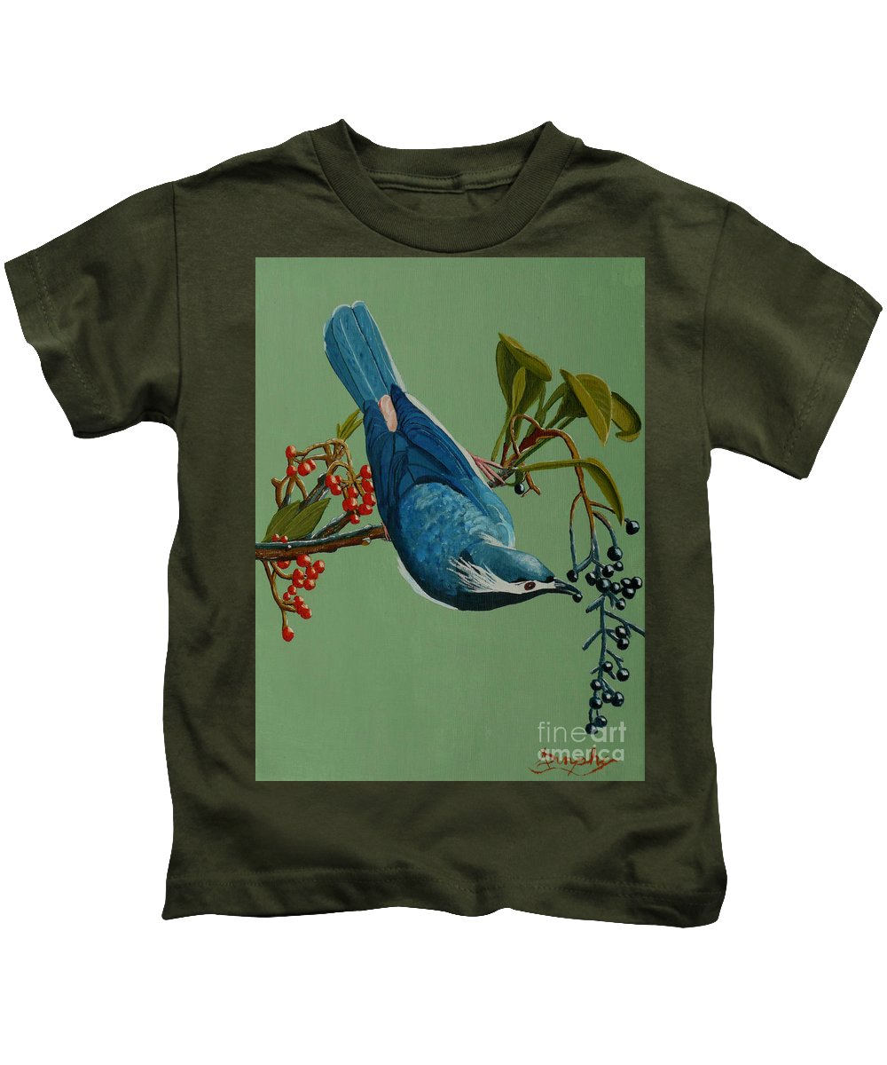 Bird Kids T-Shirt featuring the painting Lunch Time For Blue Bird by Anthony Dunphy