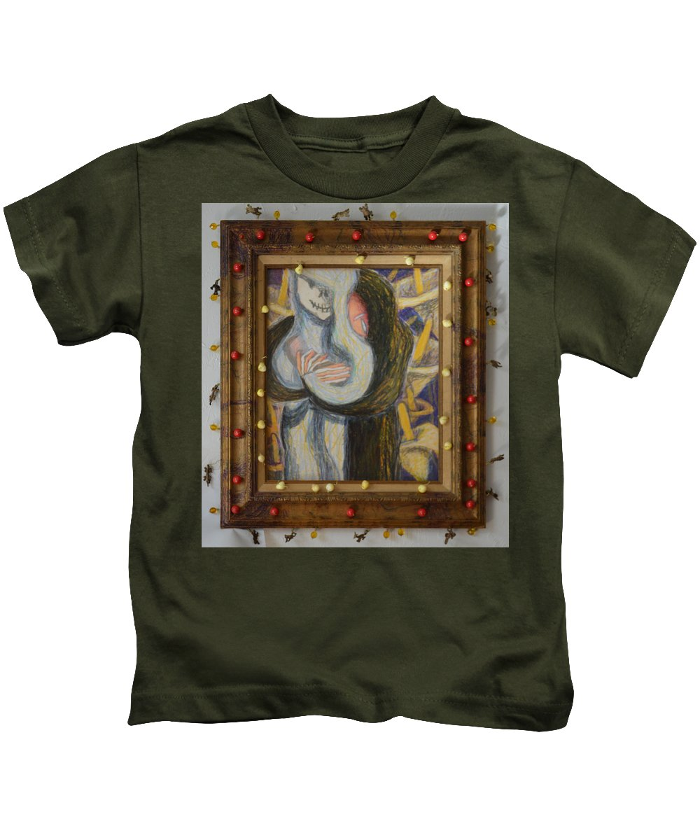 Abstract Modern Outsider Raw Black White Figure Opposites Figure Lily Lilies Religious Madonna Kids T-Shirt featuring the painting Madonna Annodam - Framed by Nancy Mauerman