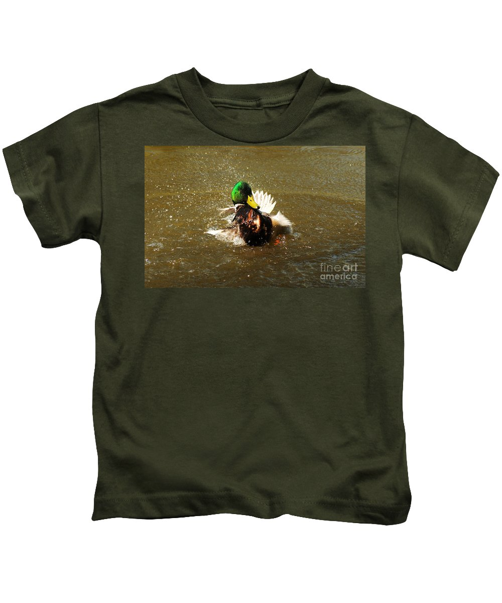 Mallard Kids T-Shirt featuring the photograph Mallard Bath Time by Vivian Christopher