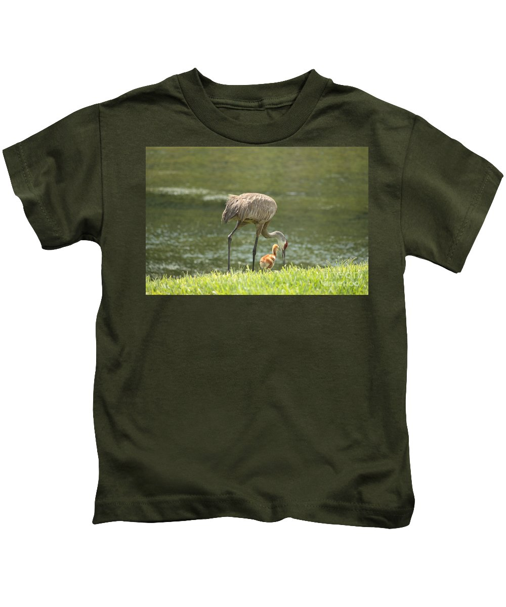 Sandhill Crane Kids T-Shirt featuring the photograph Mama And Chick by Carol Groenen