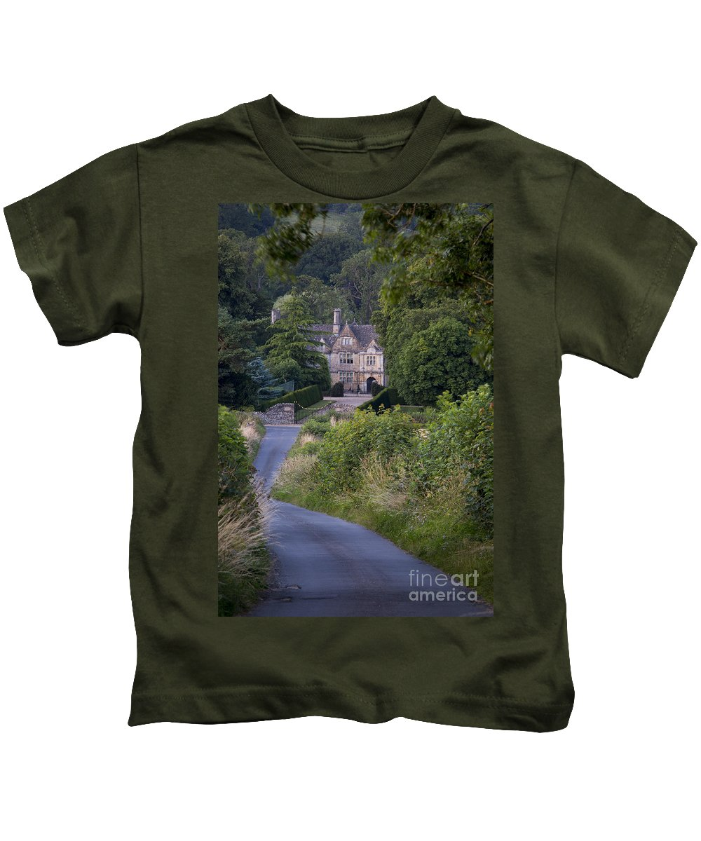 Above Kids T-Shirt featuring the photograph Manor House - Cotswolds by Brian Jannsen