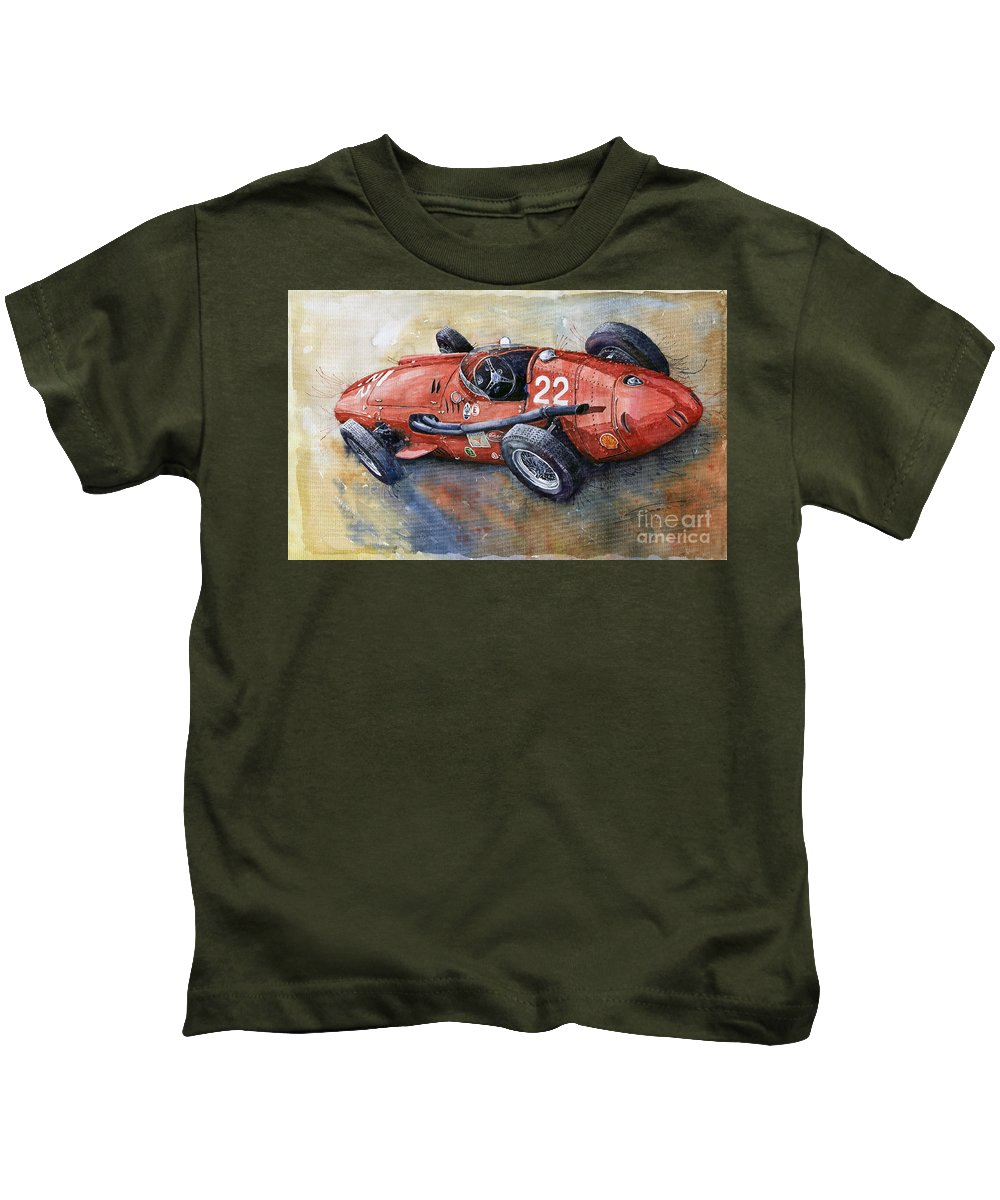 Classic Car Kids T-Shirt featuring the painting Maserati 250 F 1957 by Yuriy Shevchuk
