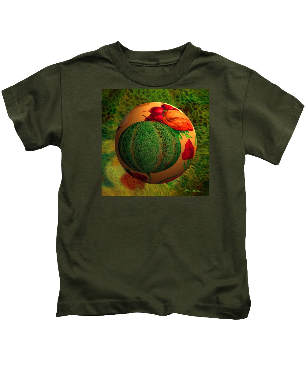 Melon Kids T-Shirt featuring the digital art Melon Ball by Robin Moline