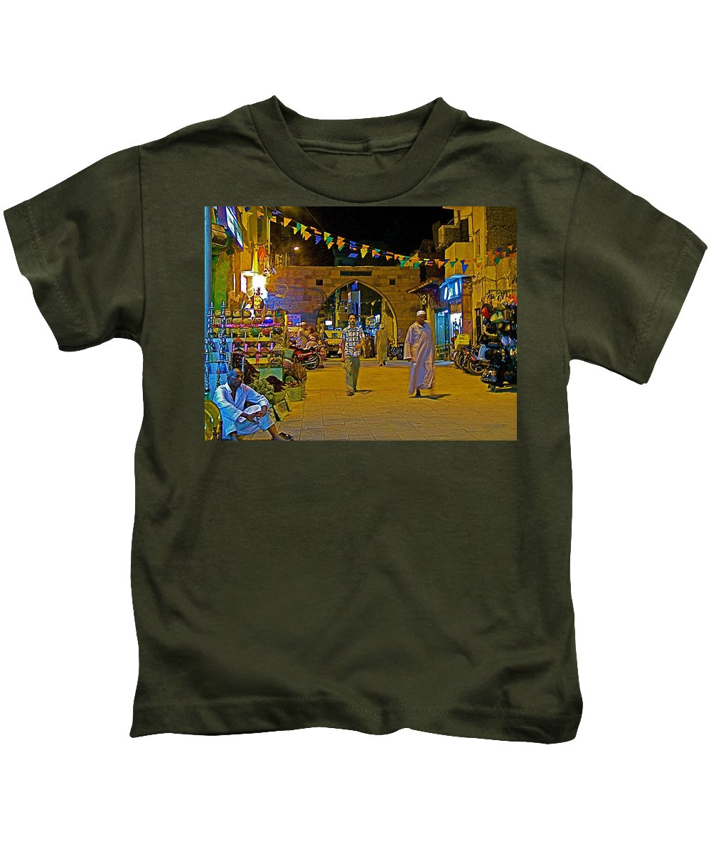 Men In The Spice Market In Aswan Kids T-Shirt featuring the photograph Men In The Spice Market In Aswan-egypt by Ruth Hager