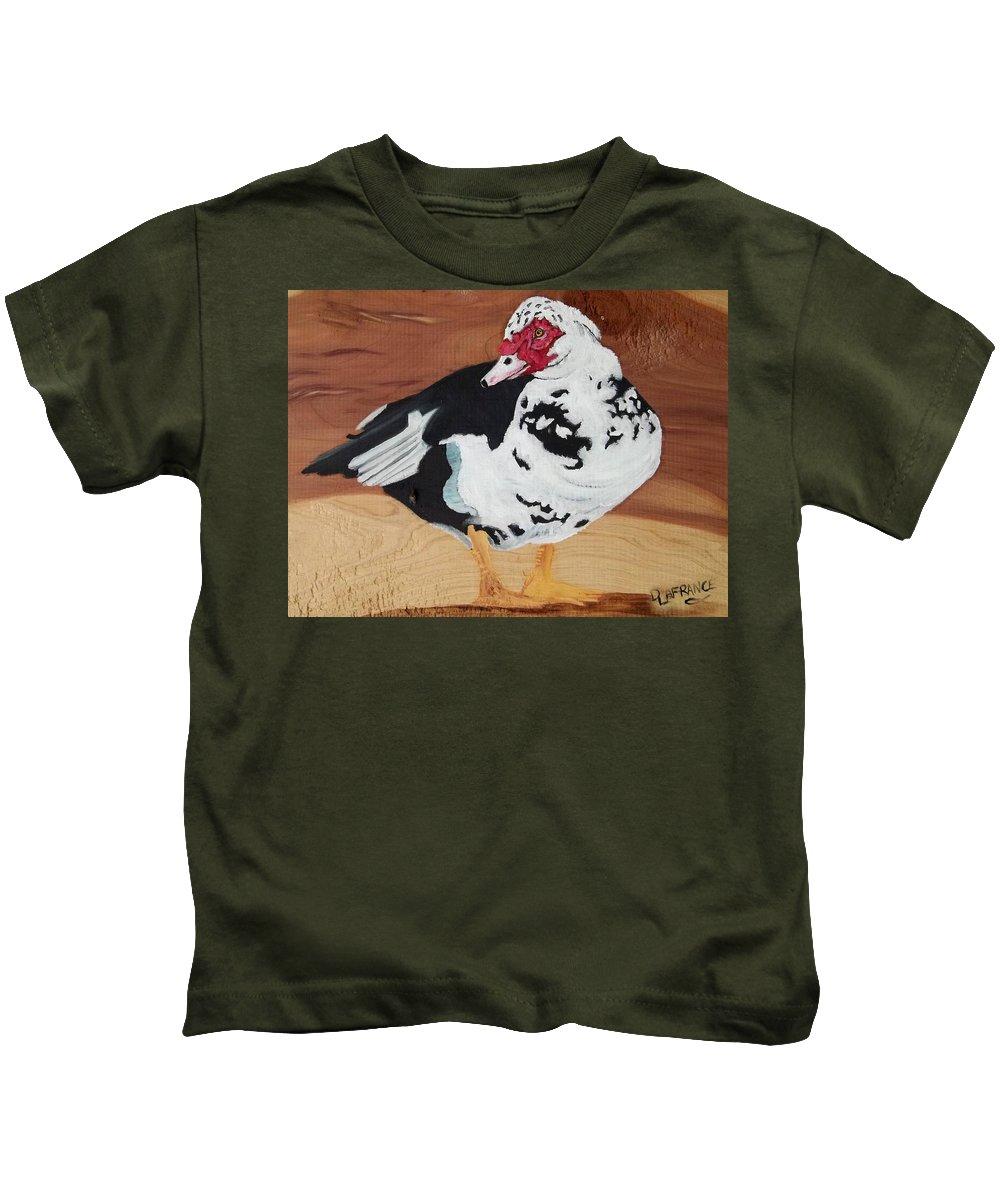 Merganser Duck Kids T-Shirt featuring the painting Merganser Duck Painted On Cedar by Debbie LaFrance