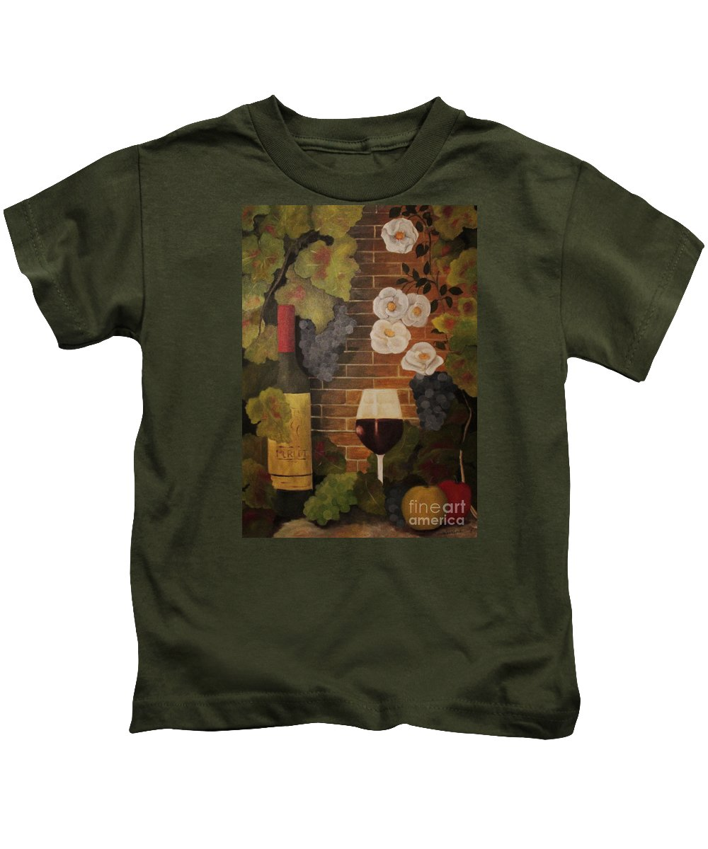 Wine Kids T-Shirt featuring the painting Merlot For The Love Of Wine by John Stuart Webbstock