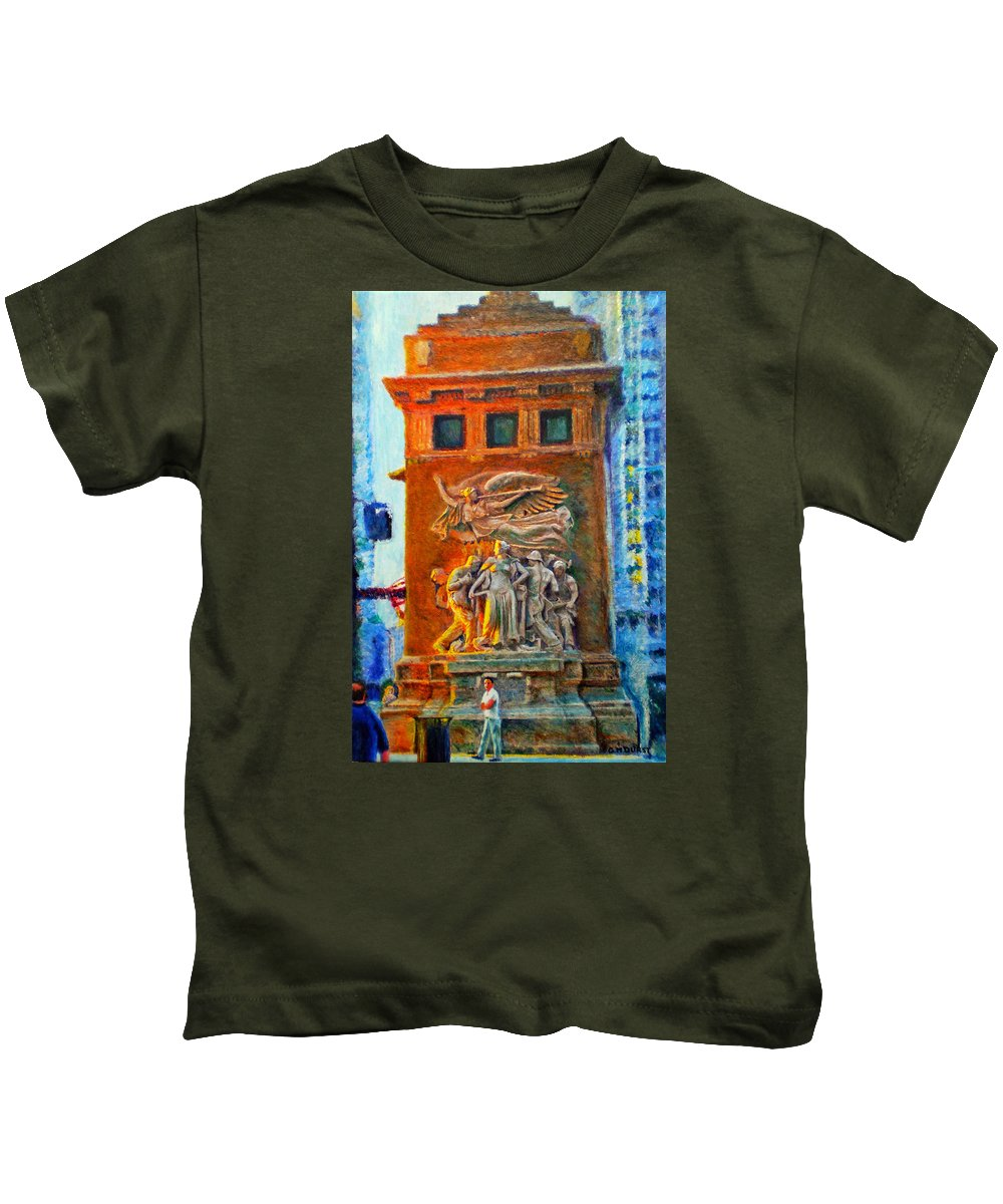 Chicago Kids T-Shirt featuring the painting Michigan Avenue Bridge by Michael Durst