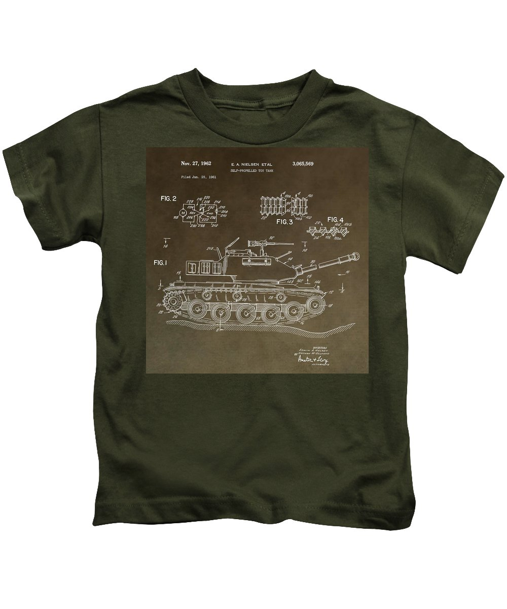 Toy Army Tank Patent Kids T-Shirt featuring the digital art Military Tank Patent by Dan Sproul