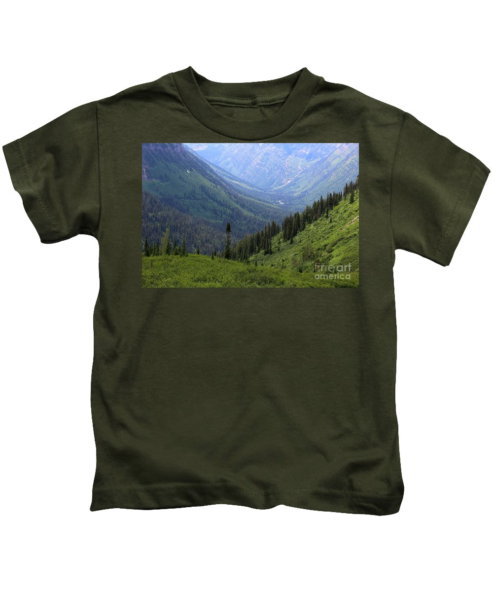 Glacier National Park Kids T-Shirt featuring the photograph Mist In The Valley by Carol Groenen