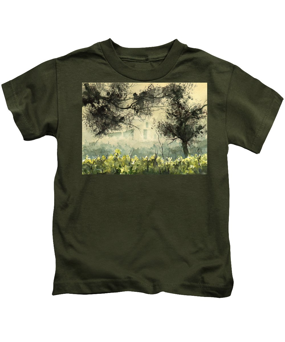 Mist Kids T-Shirt featuring the painting Misty Barn by Sam Sidders