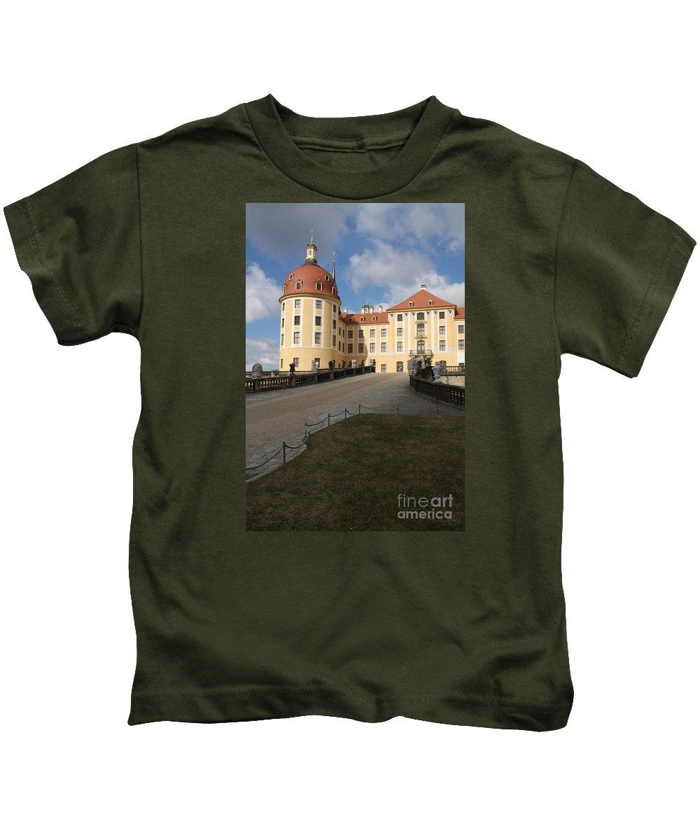 Castle Moated Castle Kids T-Shirt featuring the photograph Moated Castle Moritzburg by Christiane Schulze Art And Photography