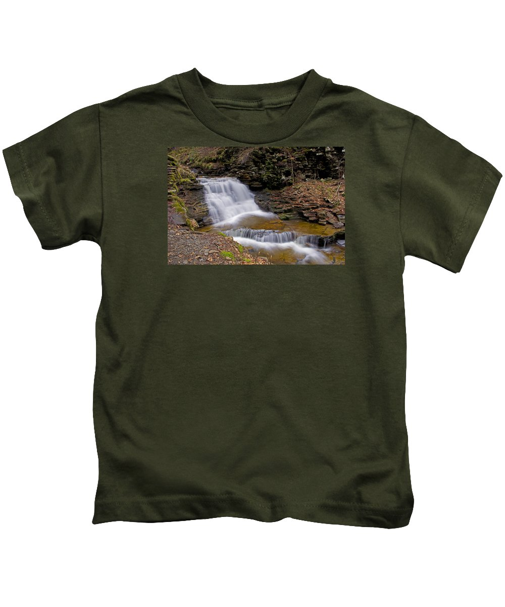 Mohican Falls Kids T-Shirt featuring the photograph Mohican Falls In Spring by Shelly Gunderson