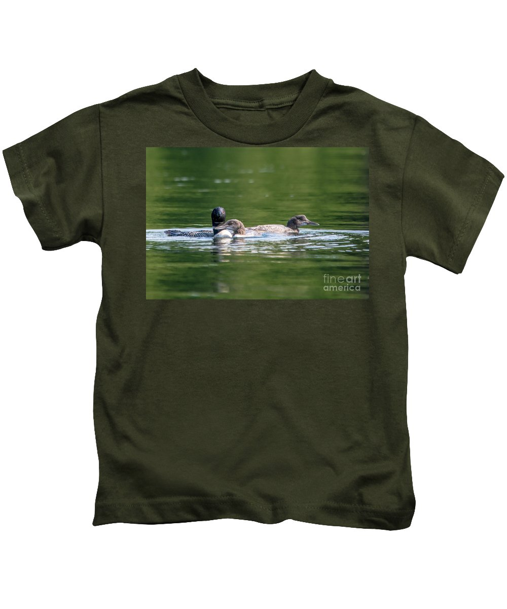 Loon Kids T-Shirt featuring the photograph Mom And Kids by Cheryl Baxter