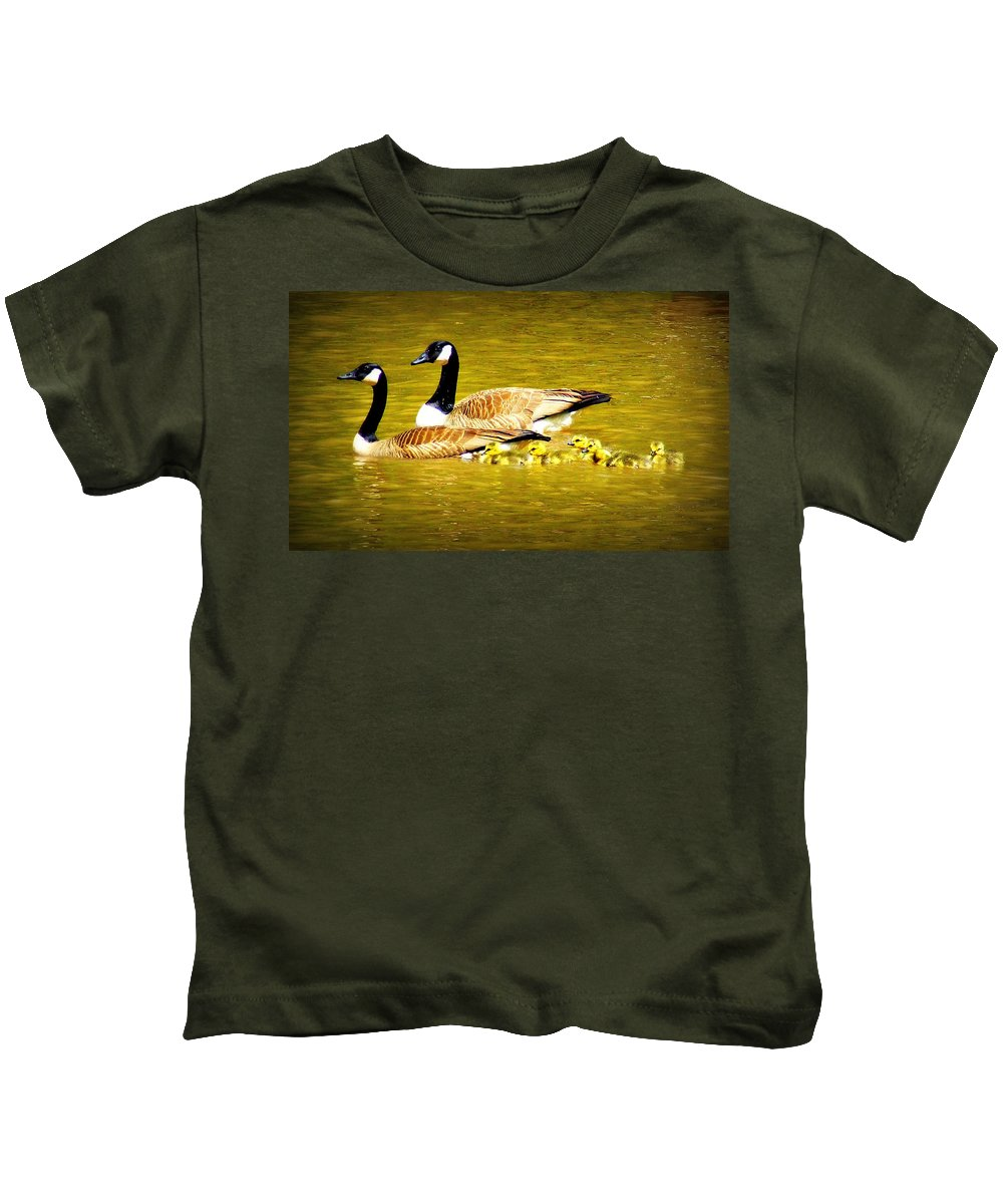 Geese Kids T-Shirt featuring the photograph Mom's Leading by Reid Callaway