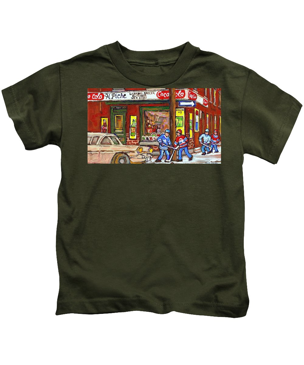 Piche's Corner Grocery Store Kids T-Shirt featuring the painting Montreal Hockey Paintings At The Corner Depanneur - Piche's Grocery Goosevillage Psc Griffintown by Carole Spandau