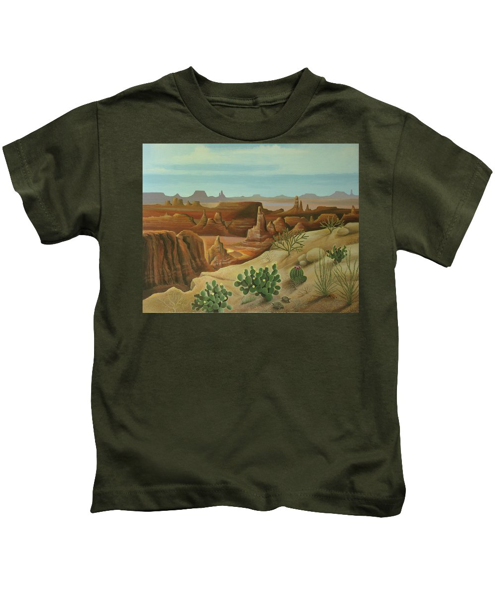 Desert Landscape Kids T-Shirt featuring the painting Monument Valley by Stuart Swartz