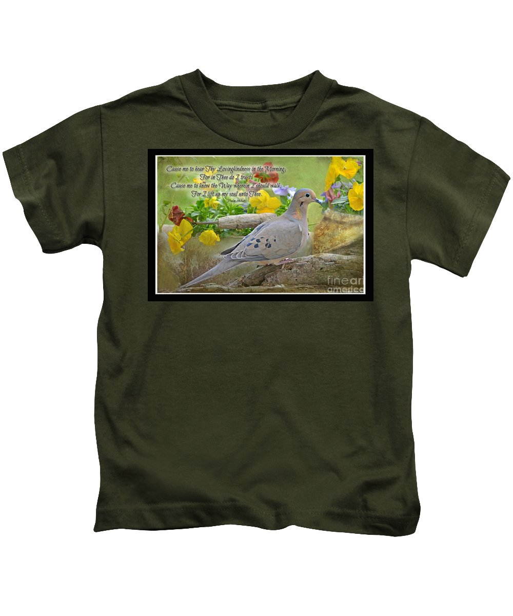 Nature Kids T-Shirt featuring the photograph Morning Dove With Verse by Debbie Portwood