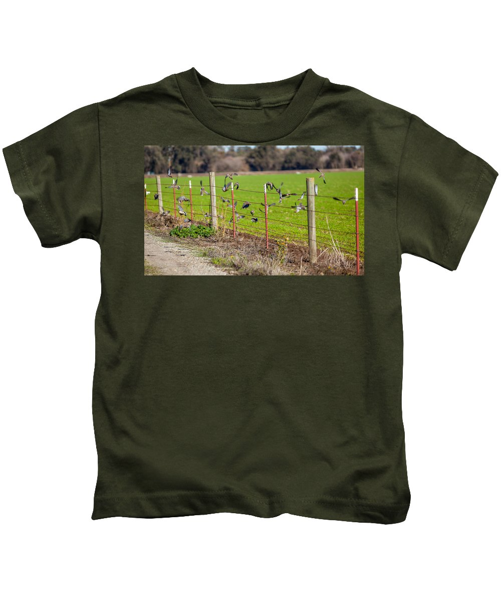 Doves Kids T-Shirt featuring the photograph Morning Doves In December by Brian Williamson