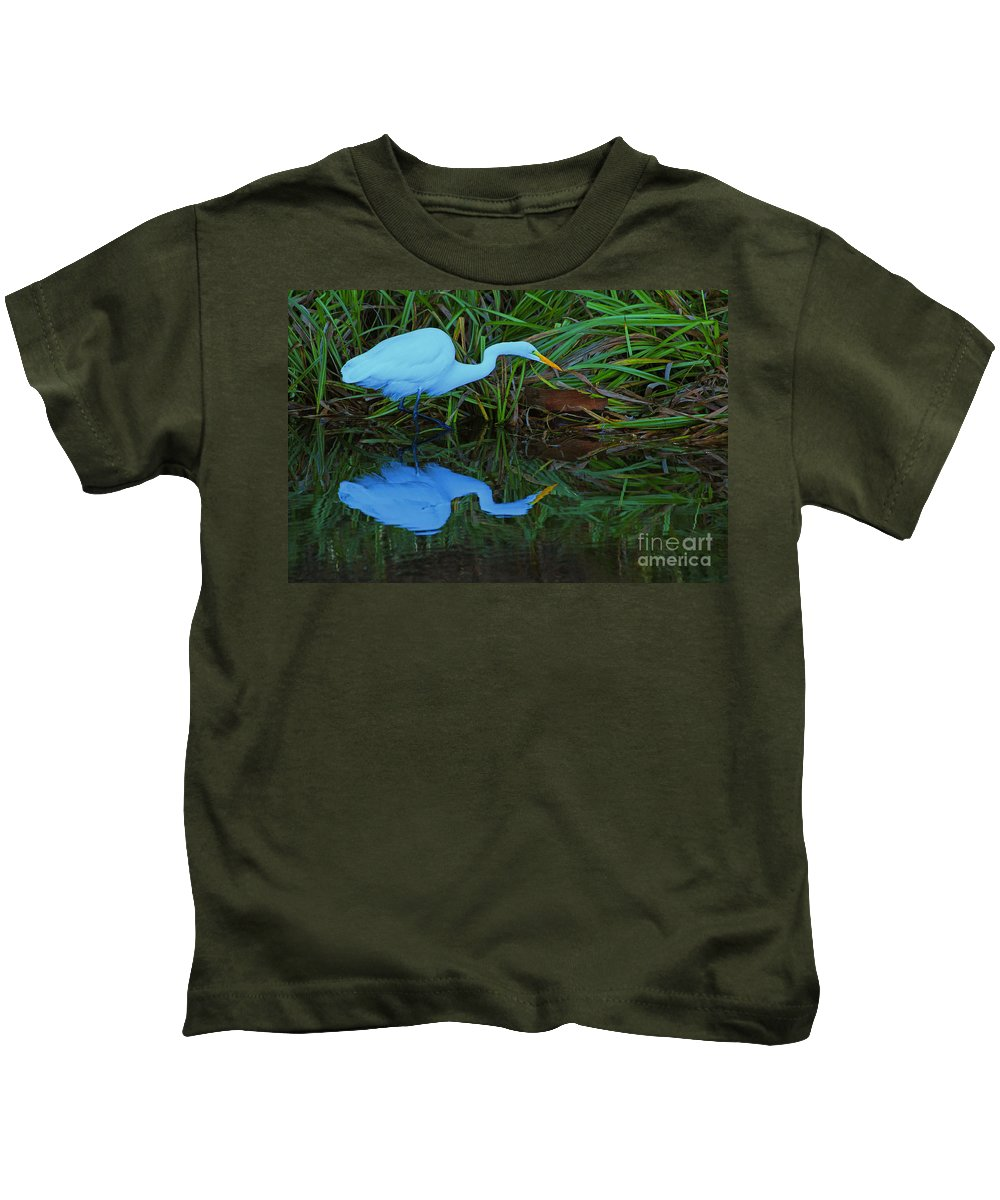 Egret Kids T-Shirt featuring the photograph Morning Reflections by Kris Hiemstra