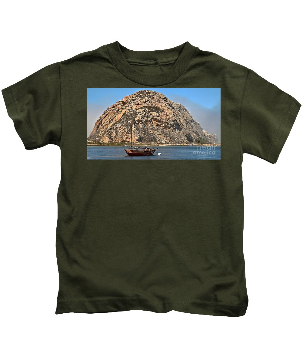 Morro Rock Kids T-Shirt featuring the photograph Morro Rock by Adam Jewell